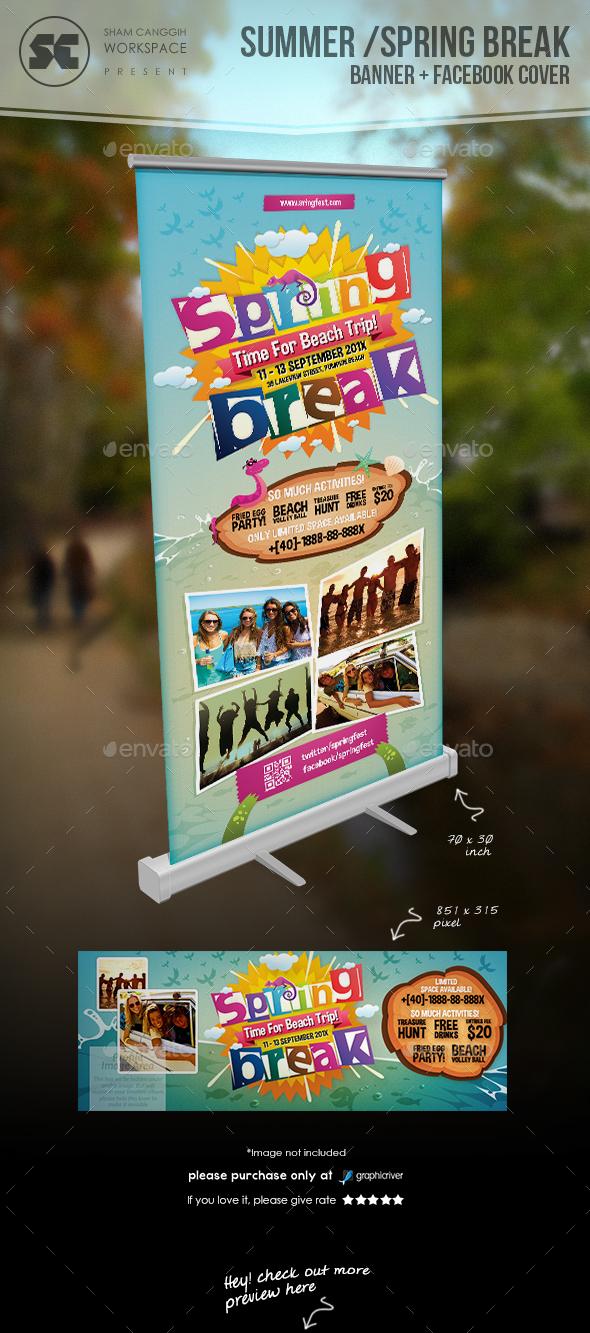 Summer / Spring Break Banner - Signage Print Templates