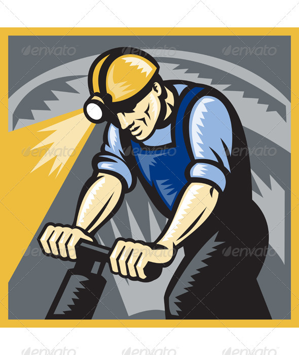 Coal Miner Drilling Pneumatic Drill Retro Woodcut - Industries Business