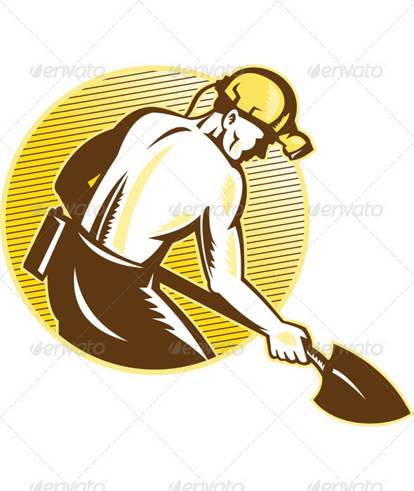 Coal Miner With Shovel Retro Woodcut - Industries Business
