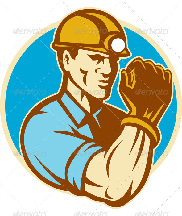 Coal Miner With Clenched Fist Retro - Industries Business