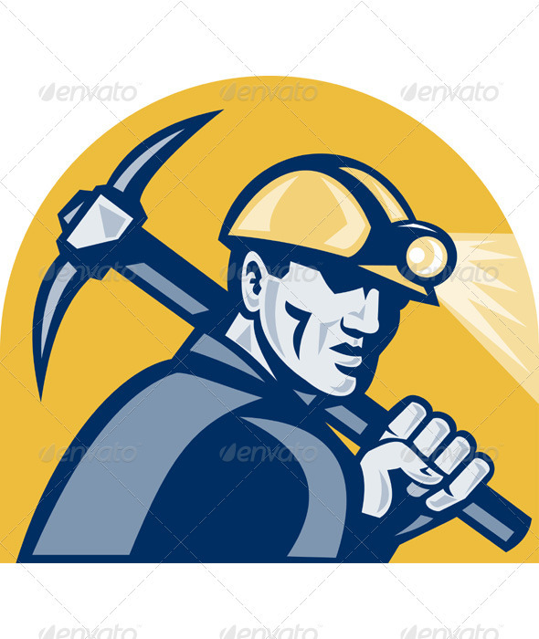 Coal Miner With Pick Axe Retro Woodcut - Industries Business