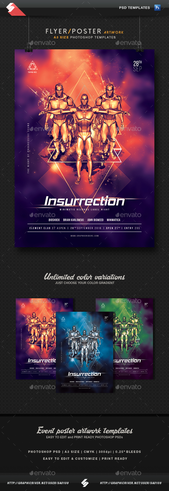 Insurrection - Event Flyer Template A3 - Clubs & Parties Events