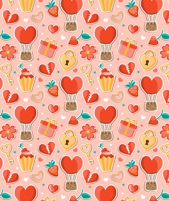 Pink Romantic Seamless Pattern - Patterns Decorative