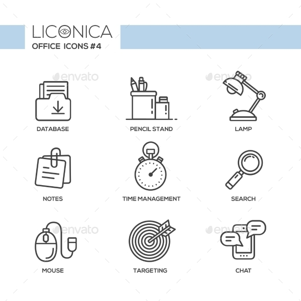 Set of Modern Office Line Flat Design Icons - Concepts Business
