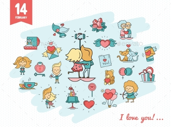 Flat Design Valentines Day Love and Romance Icons - Valentines Seasons/Holidays