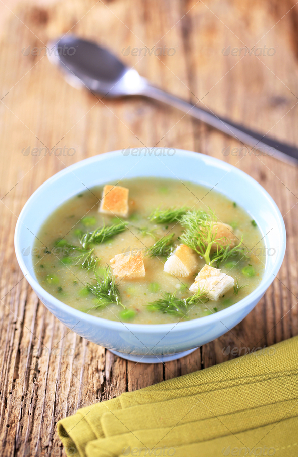 Bowl of pea soup - Stock Photo - Images