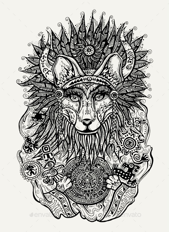 Pen And Ink Illustration Of Indian Fox - Tattoos Vectors