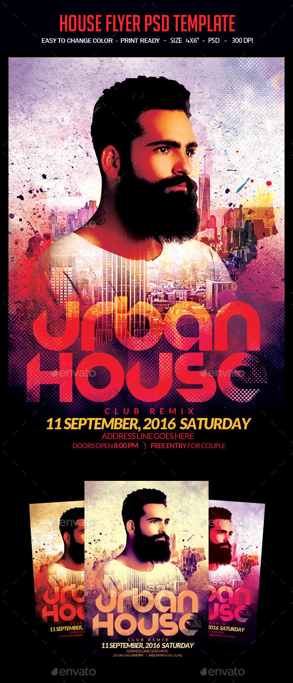 House Flyer PSD Template - Clubs & Parties Events