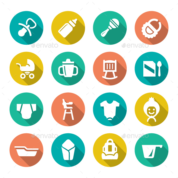 Set Flat Icons of Newborn Baby - Man-made objects Objects