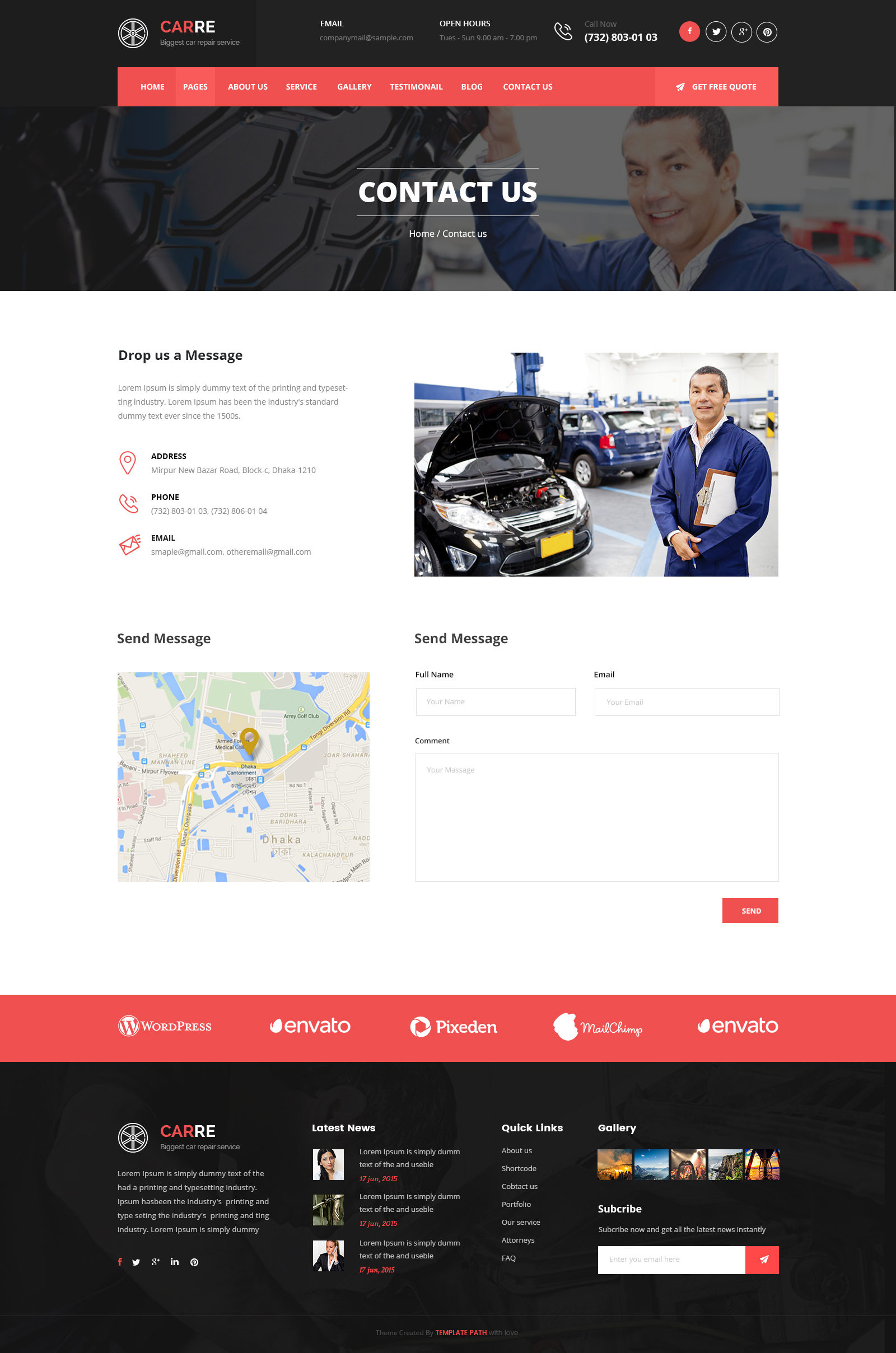 Car re auto mechanic car repair html template