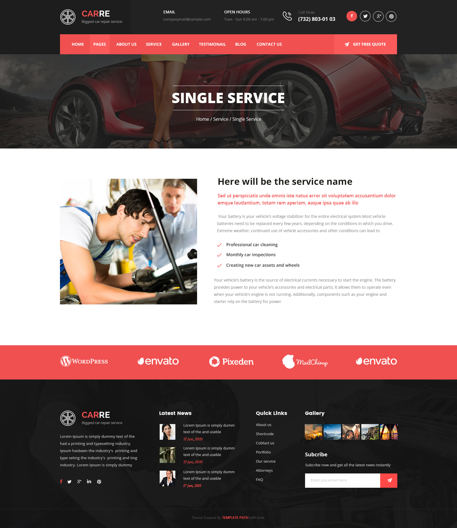 Car re auto mechanic car repair html template