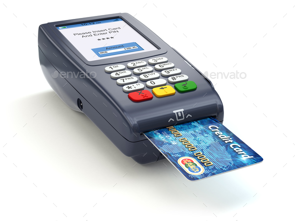 POS terminal with credit card isolated on white. Paying. - Stock Photo - Images