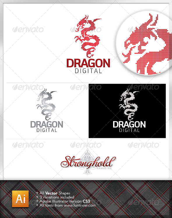 Dragon Digital Logo - Animals Logo Templates