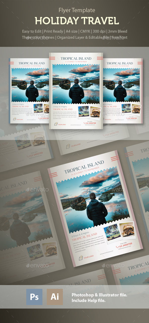 Holiday Travel - Tropical Island Journey Flyer Template - Holidays Events