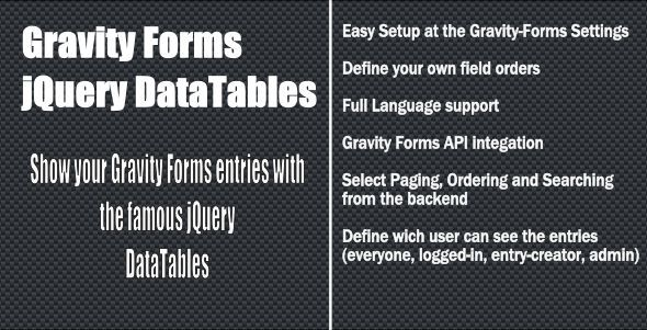 Gravity-Forms jQuery Datatable - CodeCanyon Item for Sale