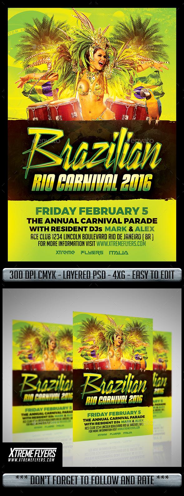 Brazilian Carnival Flyer - Flyers Print Templates