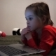 Little Girl At Night Watching Cartoons At Computer - VideoHive Item for Sale
