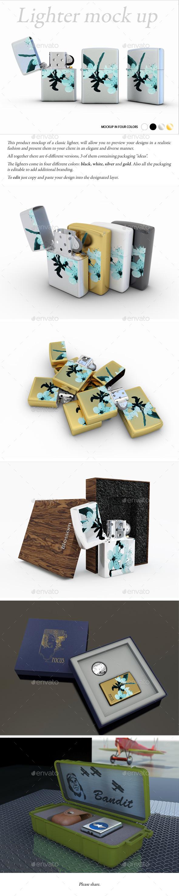 Lighter Mock-Up - Product Mock-Ups Graphics
