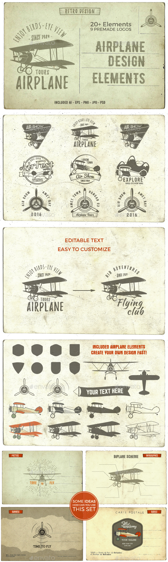 Airplane Badges & Design Elements - Badges & Stickers Web Elements