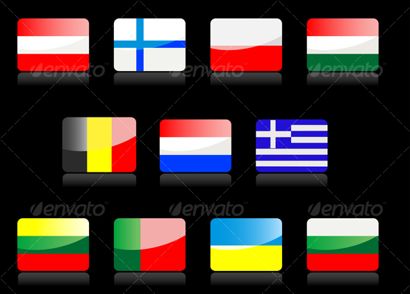 Glossy flags icons. - Characters Vectors