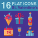 Happy Valentine's Day flat icons set - GraphicRiver Item for Sale