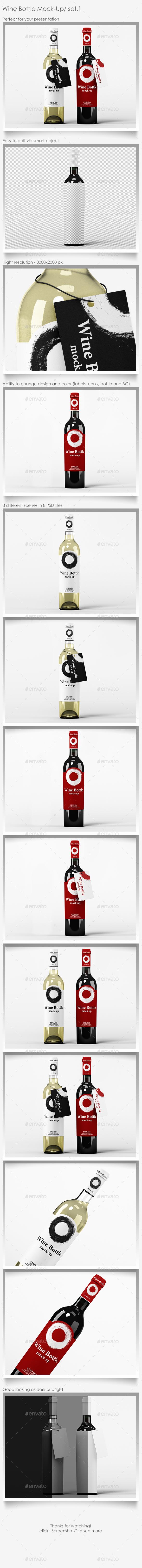 Wine Bottle Mock-Up Set.1 - Food and Drink Packaging