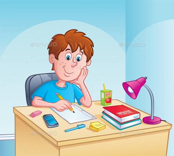 Kid Working on Homework - People Characters