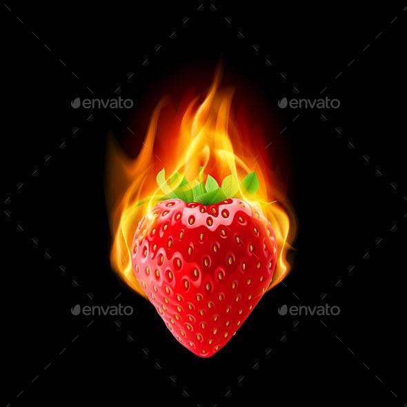 Burning Strawberry - Miscellaneous Vectors