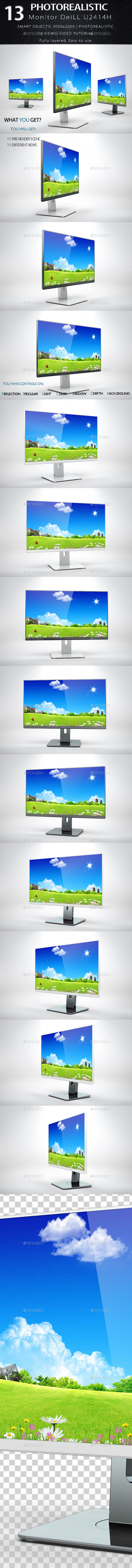 Monitor U2414H Mock Up - Product Mock-Ups Graphics