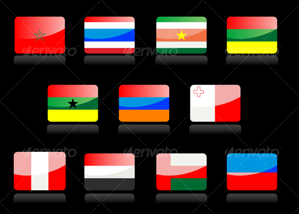Glossy flags - Decorative Vectors