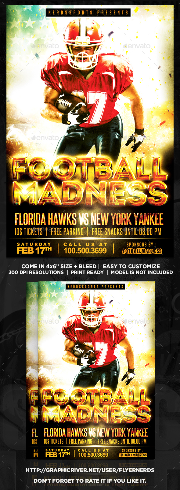 Football Madness Sports Flyer - Sports Events