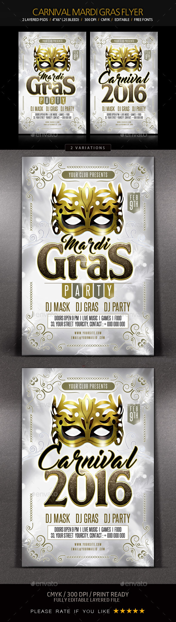Mardi Gras Party Flyer - Clubs & Parties Events