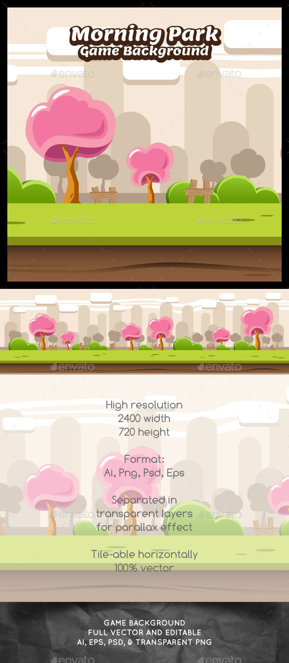 Morning Park Game Background - Backgrounds Game Assets