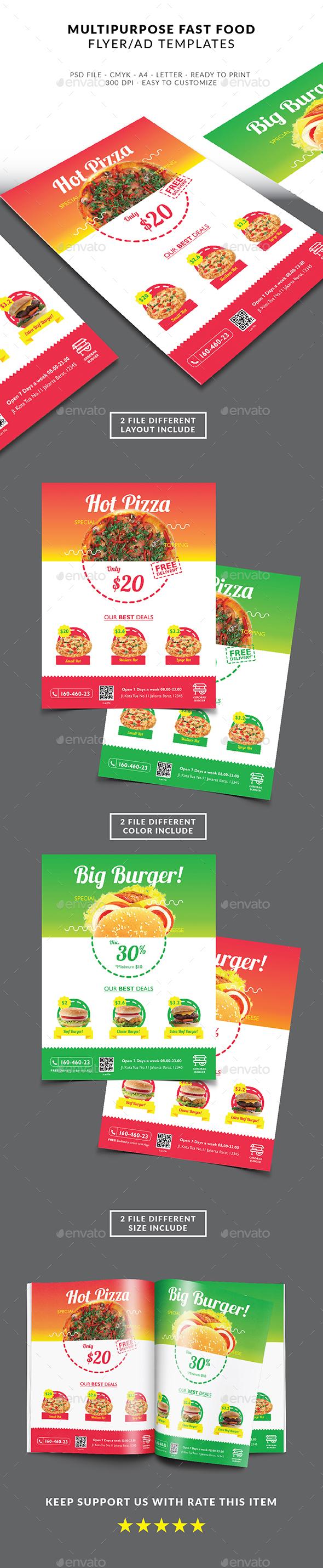 Multipurpose Fast Food Flyer - Restaurant Flyers
