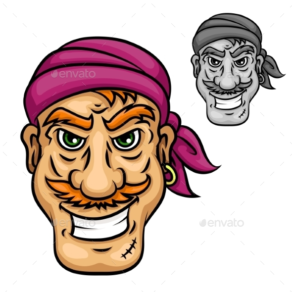 Cartoon Pirate or Sailor with Red Moustache - People Characters
