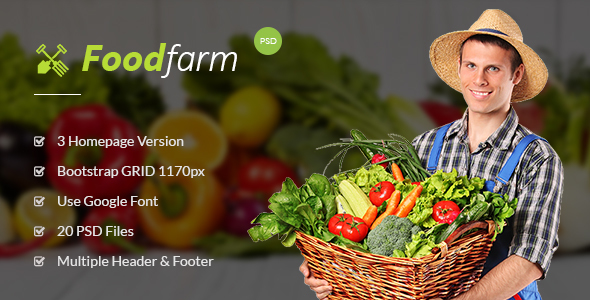 FoodFarm – Multipurpose PSD Template