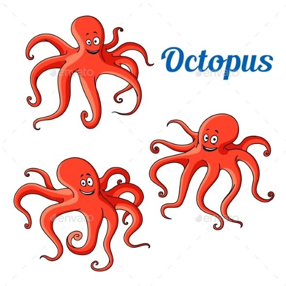 Joyful Cartoon Red Octopuses - Animals Characters