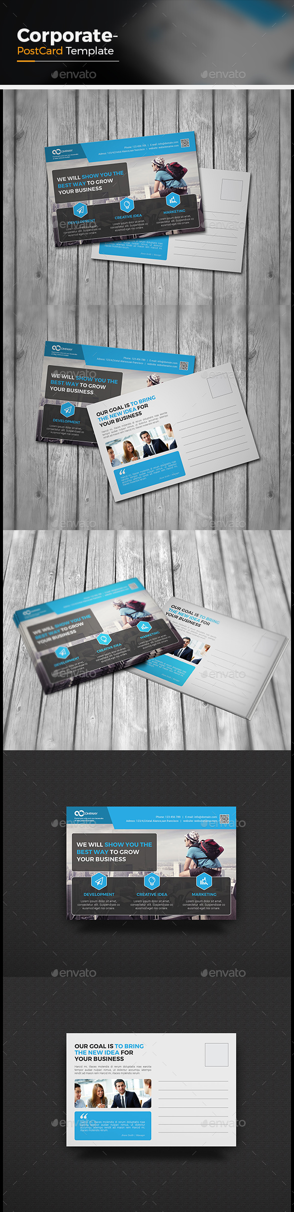 Postcard Template Graphics, Designs & Templates