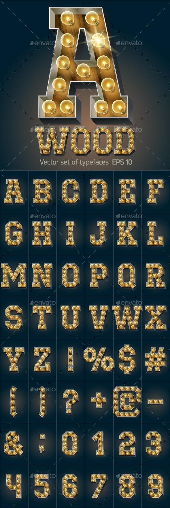 Vector Wooden Lamp Alphabet - Decorative Symbols Decorative