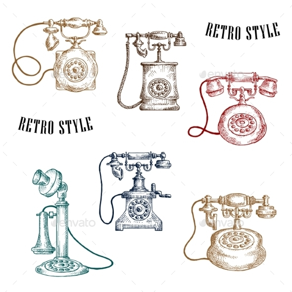 Vintage Sketched Handle Telephone Icons - Man-made Objects Objects