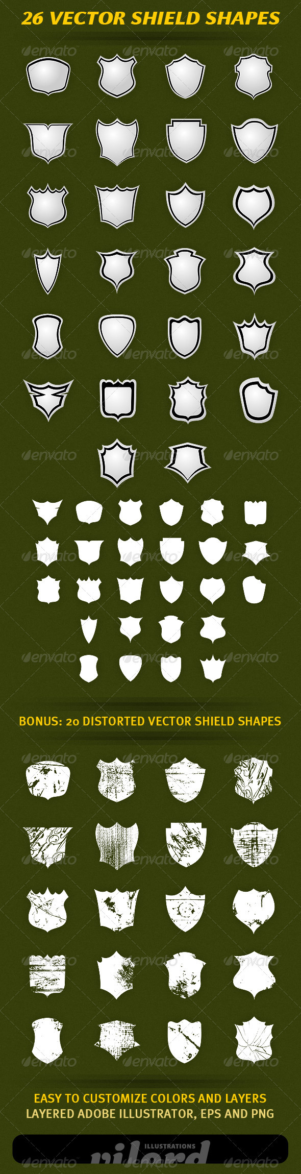 26 Vector Shield Shapes - Decorative Symbols Decorative