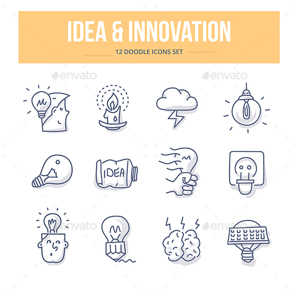 Idea & Innovation Doodle Icons - Objects Icons