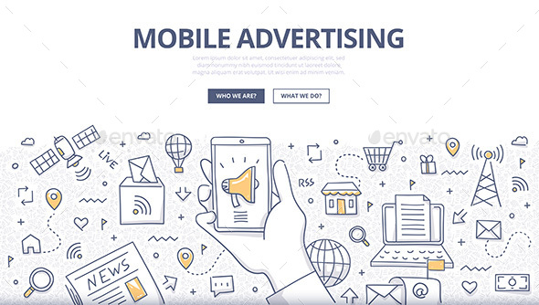 Mobile Advertising Doodle Concept - Web Technology