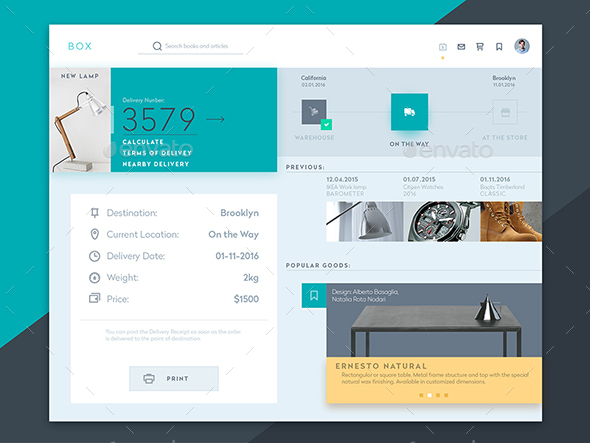 Free Box Delivery Interface Template - User Interfaces Web Elements