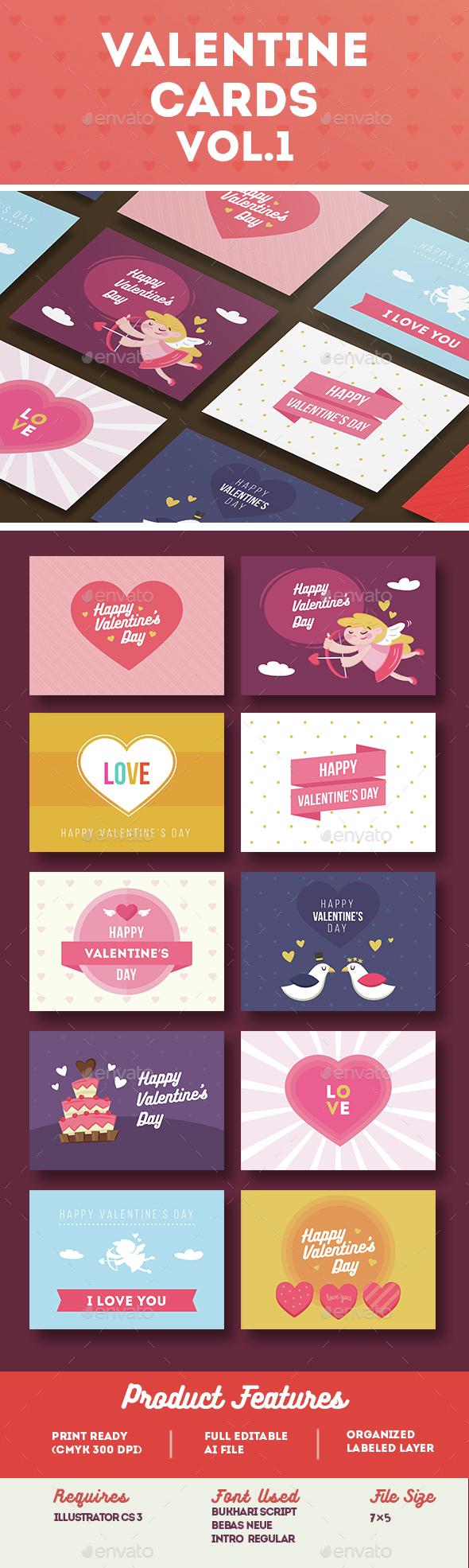 Valentine Card Vol.1 - Cards & Invites Print Templates