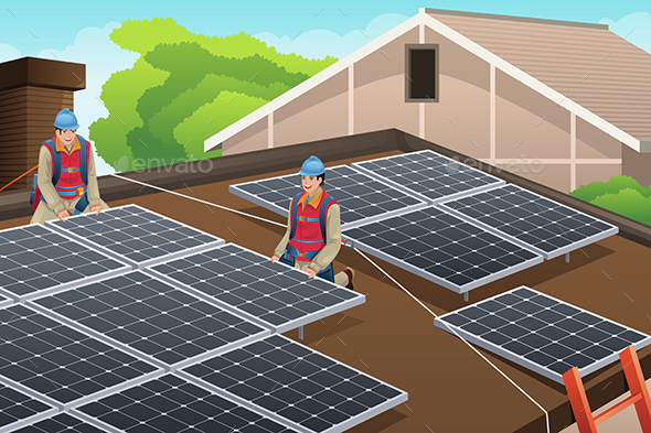 Workers Installing Solar Panels on Roof - People Characters