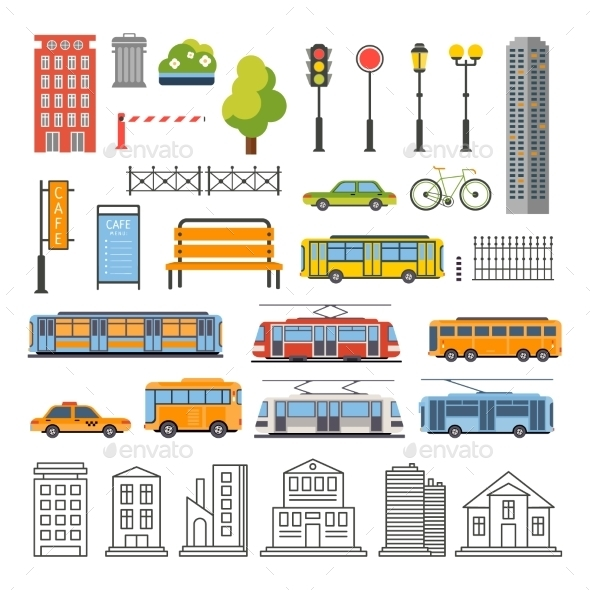 Transportation and City Traffic Infographics - Buildings Objects