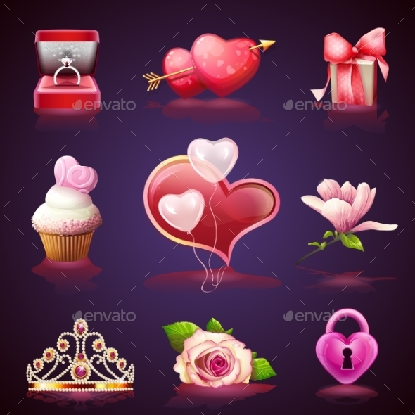 Set  Elements For Valentines Day - Characters Vectors