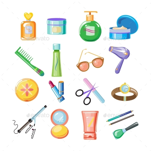 Cosmetics Icons Set - Web Elements Vectors