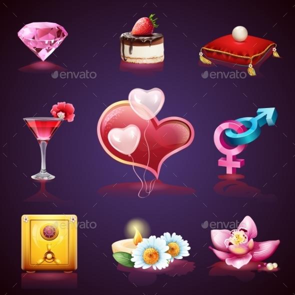 Valentines Day Set of Romantic Elements - Valentines Seasons/Holidays